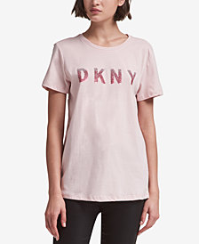 DKNY Cotton Sequined Logo T-Shirt, Created for Macy's
