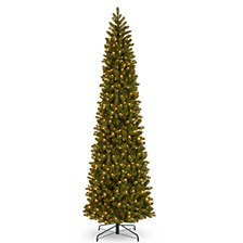 National Tree 12' Feel Real Downswept Douglas Fir Pencil Slim Tree with 850 Clear Lights