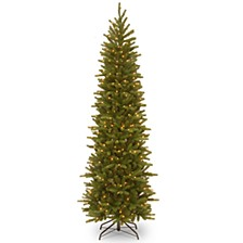 National Tree 7 .5' Feel Real Grande Fir Pencil Slim Hinged Tree with 350 Clear Lights