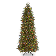 "National Tree 7 .5' ""Feel Real"" Jersey Fraser Pencil Slim Fir Hinged Tree with 650 Multi Lights"