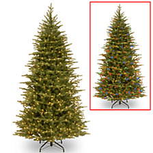 "National Tree 7 .5' ""Feel Real"" Nordic Spruce Slim Hinged Tree with 600 Dual LED Lights"