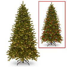 National Tree 7 .5' Feel Real Sheridan Spruce Memory-Shape Hinged Tree with 550 Dual Color LED