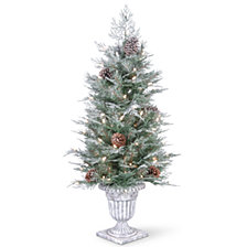 National Tree Company 4' Feel Real®  Frosted Mountain Spruce Entrance Tree with  Cones in Silver Brushed Urn & 100 Clear Lights