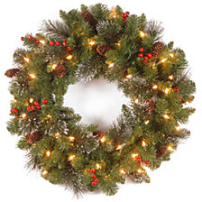 "National Tree Company 20"" Crestwood Spruce Wreath with Silver Bristle, Cones, Red Berries and Glitter with 35 Clear Lights"