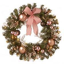 "28"" Decorated Pine Wreath with Bow, Gold Ornaments, Berries & LED"