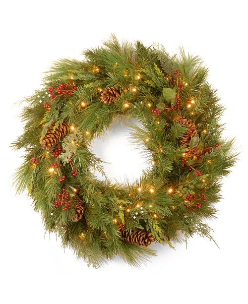 "National Tree Company National Tree 30"" White Pine Wreath with Pine Cones and 100 Soft White LED Battery Operated Lights"
