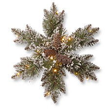 "18"" Glittery Bristle Pine Snowflakes with 6 Cones & 15 Warm White Battery Operated LED Lights w/Timer"