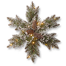"National Tree Company 18"" Glittery Bristle Pine Snowflakes with 6 Cones & 15 Warm White Battery Operated LED Lights w/Timer"