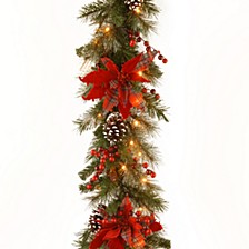 "National Tree 9' X 12"" Decorative Collection Tartan Plaid Garland with Cones, Red Berries, Poinsettas and 50 Soft White Battery Operated LEDs with Timer"