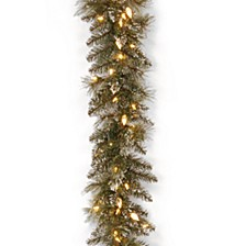 "9' x 10"" Glittery Bristle Pine Garland with 100 Soft White LED Lights with C7 Diamond Caps"