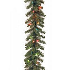 "National Tree Company 9' x 10"" Kincaid Spruce Garland with 50 Multi Lights"
