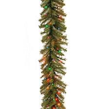 "National Tree Company 9' x 12"" Norwood Fir Garland with 100 Multi Lights-UL"