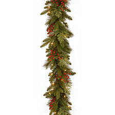 "National Tree Company 9' x 12"" Feel Real(R)Classical Collection Garland with Red Berries, Cedar Leaves & 100 Clear Lights"
