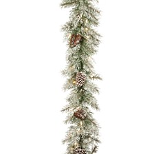 "9' x 10"" Feel Real®  Frosted Mountain Spruce Garland with Cones & 50 Clear Lights"