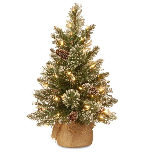 National Tree Company 2' Glittery Bristle Pine Burlap Tree with 7 White Tipped Cones & 15 Warm White Battery Operated LED Lights w/Timer