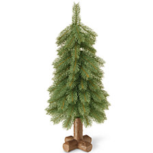 "National Tree Company 24"" ""Feel-Real"" Bayberry Spruce Tree in Cross Faux Wood Base"