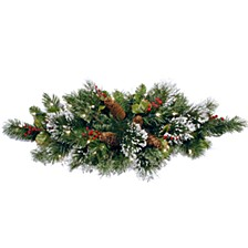 """32"""" Wintry Pine Table Piece with Cones, Red Berries and Snowflakes with 35 Warm White Battery Operated LED Lights with Timer"""