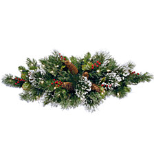 """National Tree Company 32"""" Wintry Pine Table Piece with Cones, Red Berries and Snowflakes with 35 Warm White Battery Operated LED Lights with Timer"""