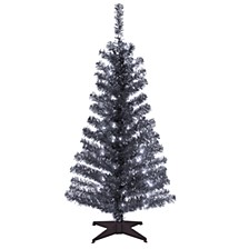 National Tree 4 ft. Black Tinsel Tree with Clear Lights