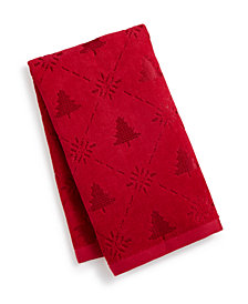 CLOSEOUT! Martha Stewart Collection Snow Tree Cotton Hand Towel, Created for Macy's
