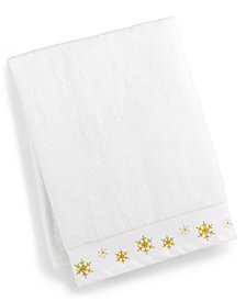 CLOSEOUT! Martha Stewart Collection Snowflake Cotton Embroidered Bath Towel, Created for Macy's