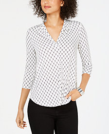 Charter Club Petite Pleat-Neck Printed Top, Created for Macy's
