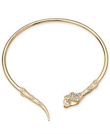 "Thalia Sodi Gold-Tone Crystal & Imitation Pearl Snake 5"" Choker Necklace, Created for Macy's"