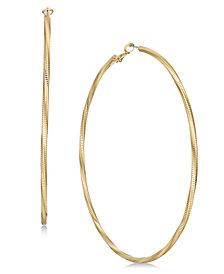 "Thalia Sodi Extra Large Gold-Tone Groove Hoop Earrings 4"", Created for Macy's"