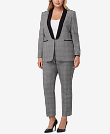 Tahari ASL Plus Size Plaid Shawl-Collar Pantsuit
