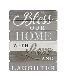 "Stratton Home Decor ""Bless our home with love and laughter"" Wall Art"