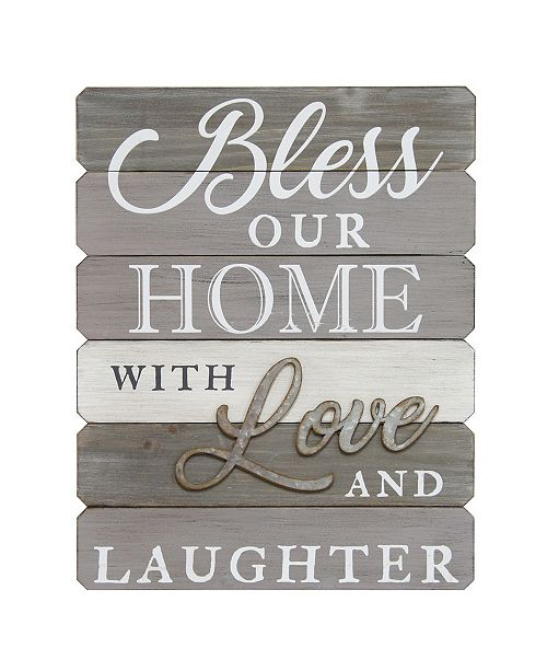 """Stratton Home Decor Stratton Home Decor """"Bless our home with love and laughter"""" Wall Art"""