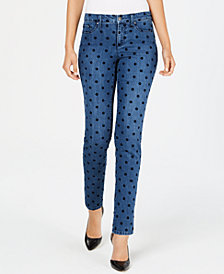 Charter Club Flocked-Dot Tummy-Control Skinny Jeans, Created for Macy's