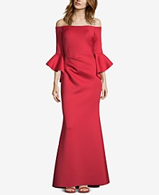Off-The-Shoulder Scuba Gown