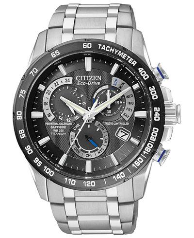 Citizen Men's Chronograph Eco-Drive Titanium Bracelet Watch 43mm AT4010-50E
