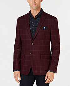 Tallia Men's Slim-Fit Burgundy/Grey Windowpane Wool Sport Coat