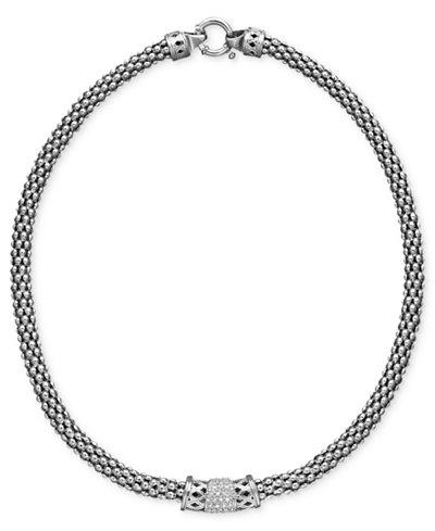 Diamond Barrel Necklace in Sterling Silver (1/4 ct. t.w.)