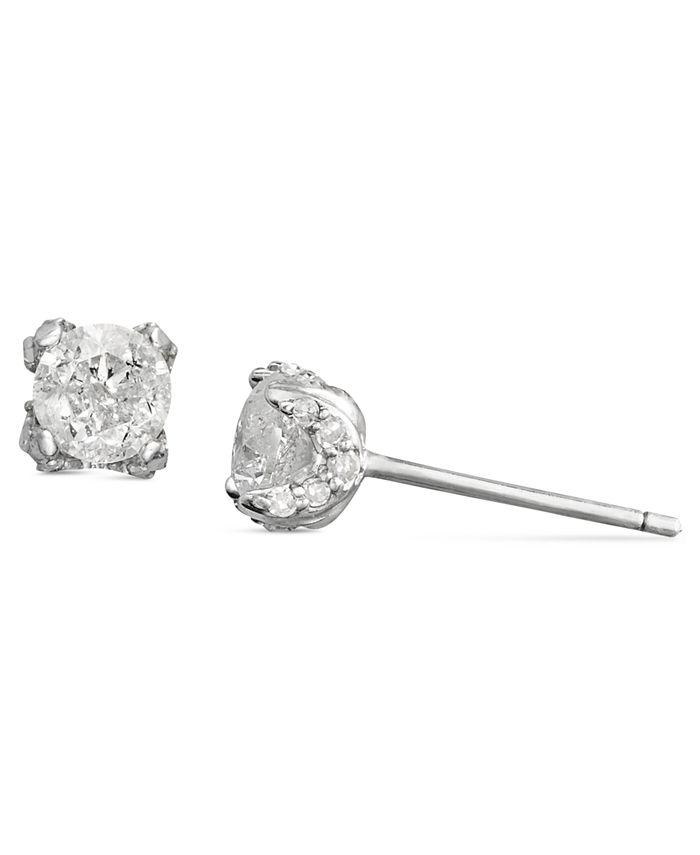Macy's - Diamond Pave Stud Earrings in 14k White Gold (3/4 ct. t.w.)