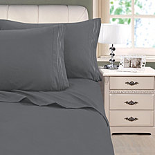 3-Line Stripe Embroidery 4-Pc. Full Sheet Set