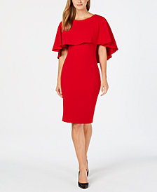 Calvin Klein Popover-Cape Sheath Dress