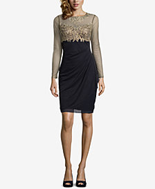 XSCAPE Petite Embellished Illusion Sheath Dress