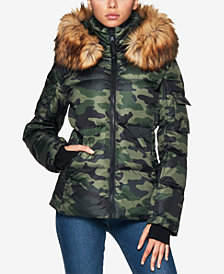 S13 Kylie Faux-Fur-Trim Hooded Puffer Coat