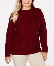 Karen Scott Plus Size Embellished Cable Sweater, Created for Macy's