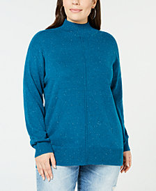Karen Scott Plus Size Textured Mock Turtleneck Sweater, Created for Macy's