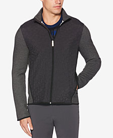 Perry Ellis Men's Quilted Colorblocked Full-Zip Sweater
