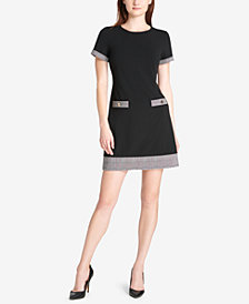 Tommy Hilfiger Houndstooth-Trim Shift Dress