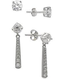 Giani Bernini 2-Pc. Set Cubic Zirconia Stud & Drop Earrings in Sterling Silver, Created for Macy's