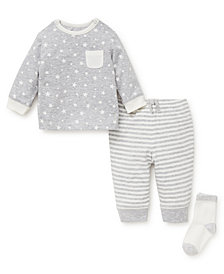 Little Me Baby Boys Heather Star Jogger Set with Socks