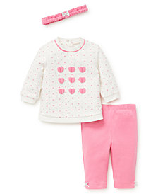 Little Me Baby Girls Hearts 3pc Sweatshirt Set with Headband