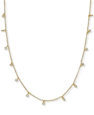 18 Sterling Silver CZ Dangle Necklace