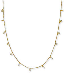"Giani Bernini 18K Gold Plated Cubic Zirconia Chain Necklace, 16"" + 2"" extender, Created for Macy's"